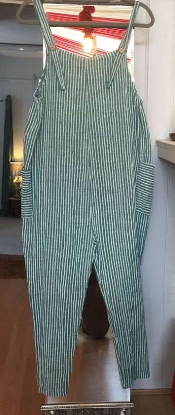 Cotton Dungarees - Stripey - Green
